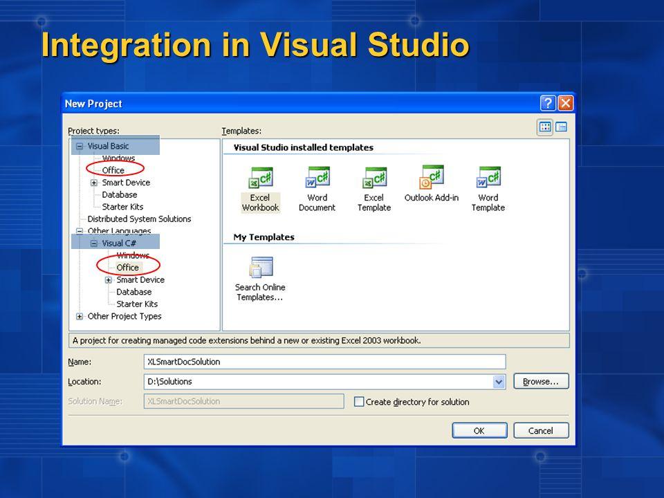 Kaskadierte Office Menus View Controls per Drag&Drop aus der Toolbox Property Window Support Word und Excel als Designer Integration in Visual Studio