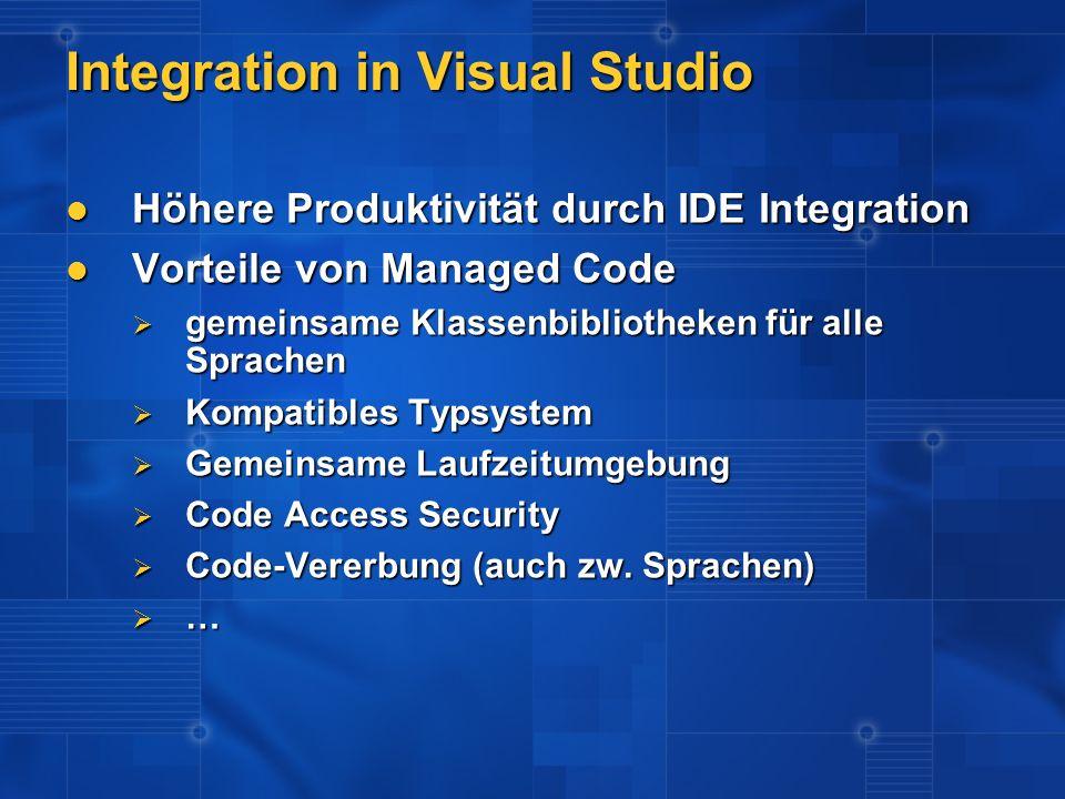 Höhere Produktivität durch IDE Integration Höhere Produktivität durch IDE Integration Vorteile von Managed Code Vorteile von Managed Code gemeinsame K