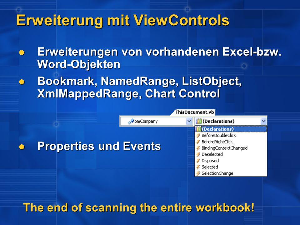 Erweiterung mit.NET Controls Word / Excel als Host für Managed Controls Word / Excel als Host für Managed Controls Komplettes Eventing Komplettes Eventing Databinding Databinding BindingSource BindingSource TableAdapter TableAdapter DataSet DataSet BindingNavigator BindingNavigator Wrapper-Objekt wird automatisch generiert Wrapper-Objekt wird automatisch generiert