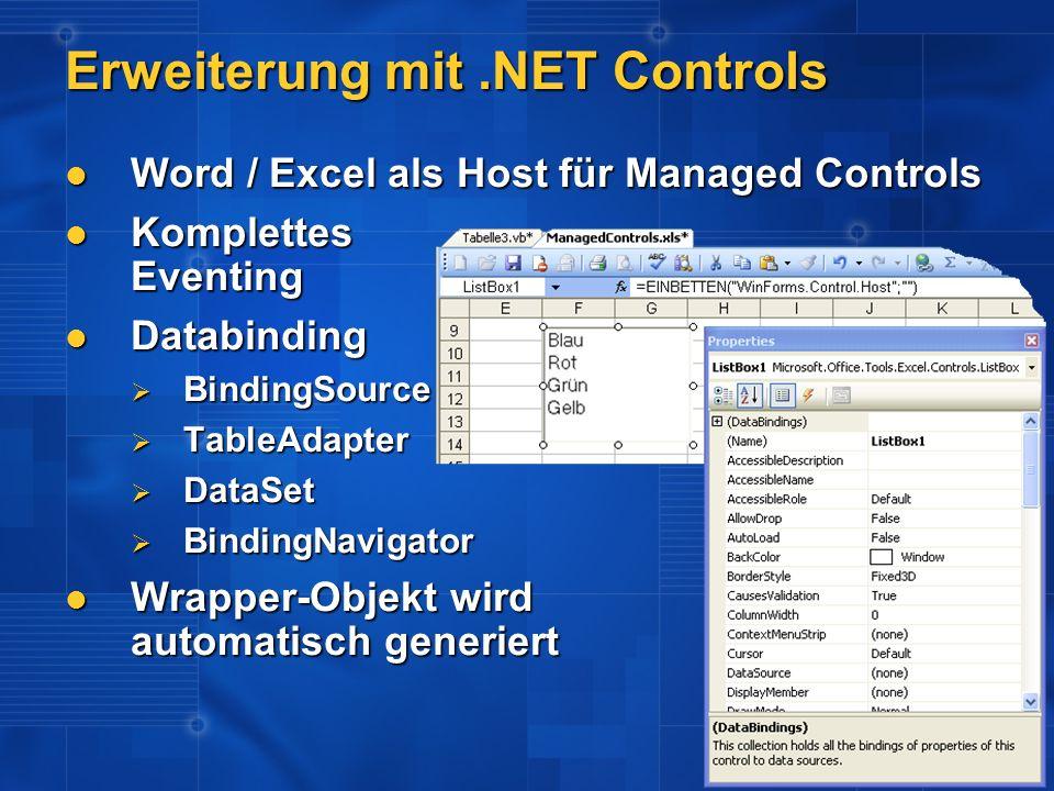 Erweiterung mit.NET Controls Word / Excel als Host für Managed Controls Word / Excel als Host für Managed Controls Komplettes Eventing Komplettes Even