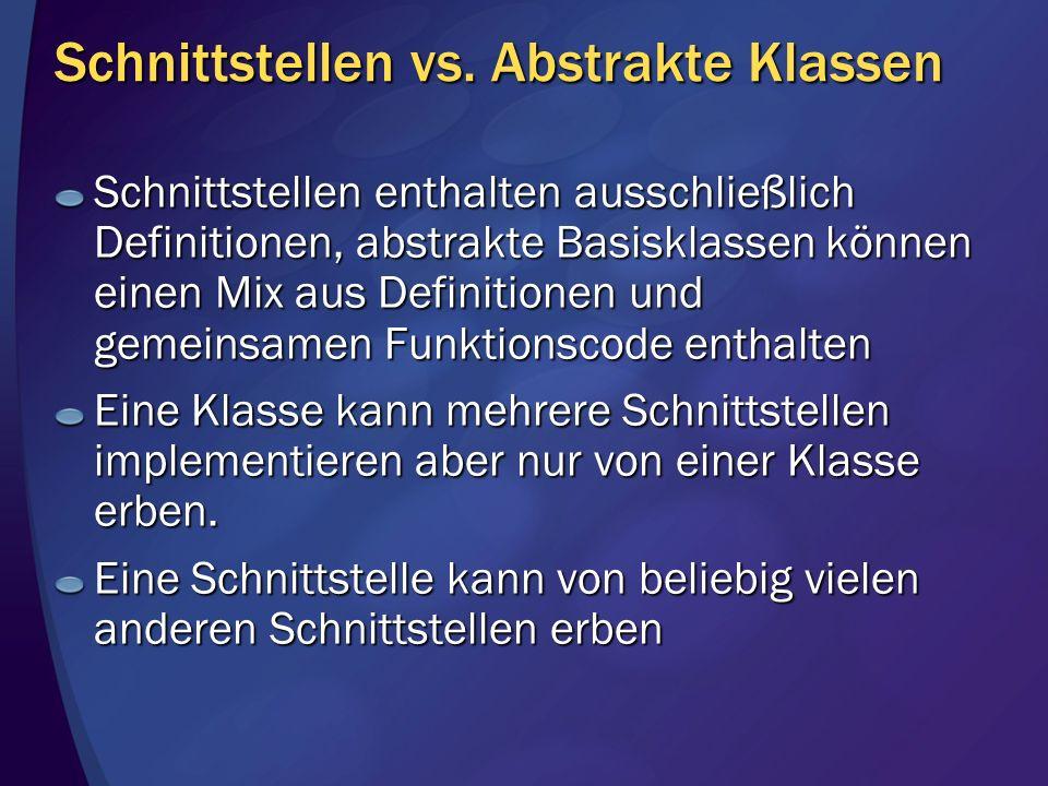 Schnittstellen vs. Abstrakte Klassen Schnittstellen enthalten ausschließlich Definitionen, abstrakte Basisklassen können einen Mix aus Definitionen un
