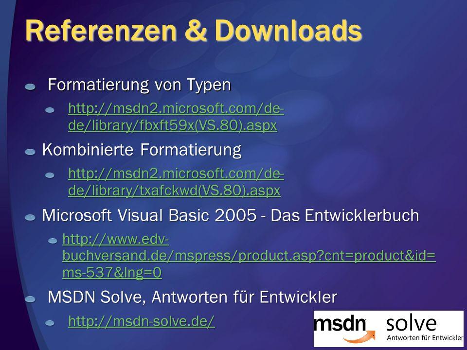 Referenzen & Downloads Formatierung von Typen http://msdn2.microsoft.com/de- de/library/fbxft59x(VS.80).aspx http://msdn2.microsoft.com/de- de/library