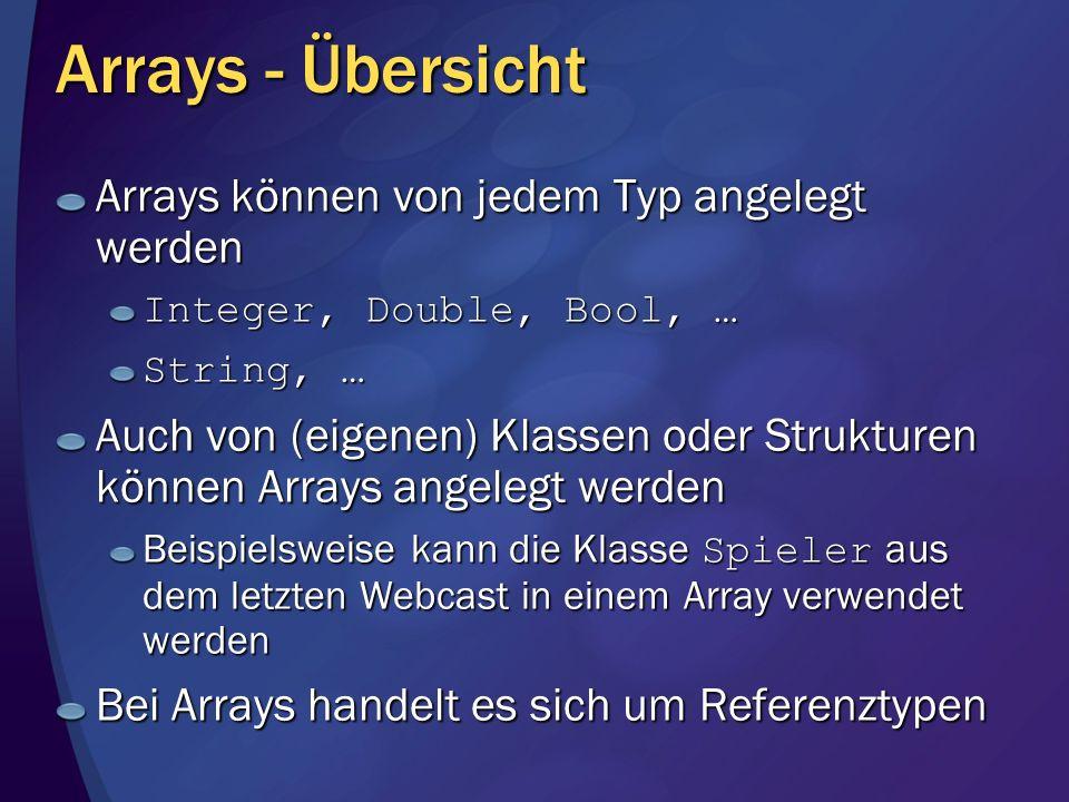 Arrays - Übersicht Arrays können von jedem Typ angelegt werden Integer, Double, Bool, … String, … Auch von (eigenen) Klassen oder Strukturen können Ar