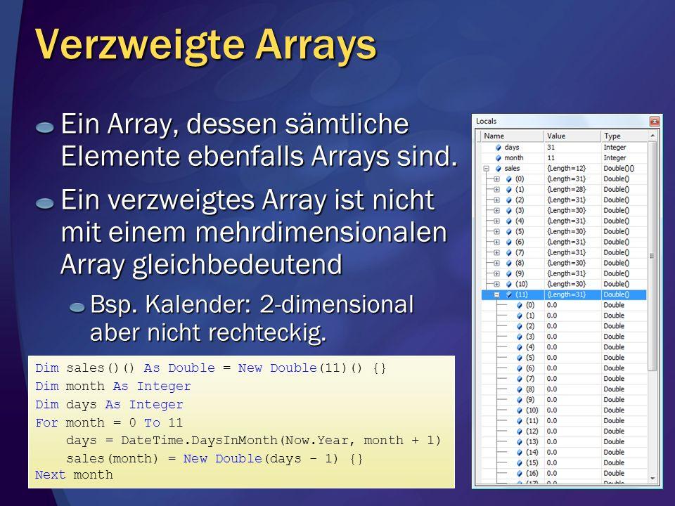Verzweigte Arrays Ein Array, dessen sämtliche Elemente ebenfalls Arrays sind. Ein verzweigtes Array ist nicht mit einem mehrdimensionalen Array gleich