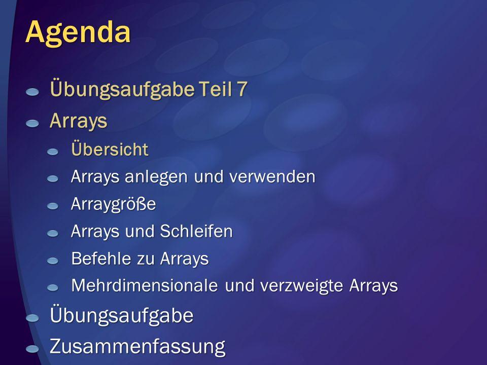 Arrays - Übersicht Was ist ein Array.
