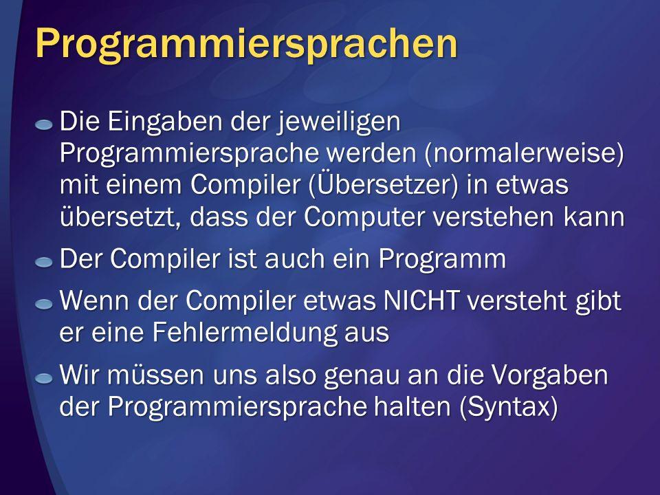 Programmiersprachen Die Eingaben der jeweiligen Programmiersprache werden (normalerweise) mit einem Compiler (Übersetzer) in etwas übersetzt, dass der