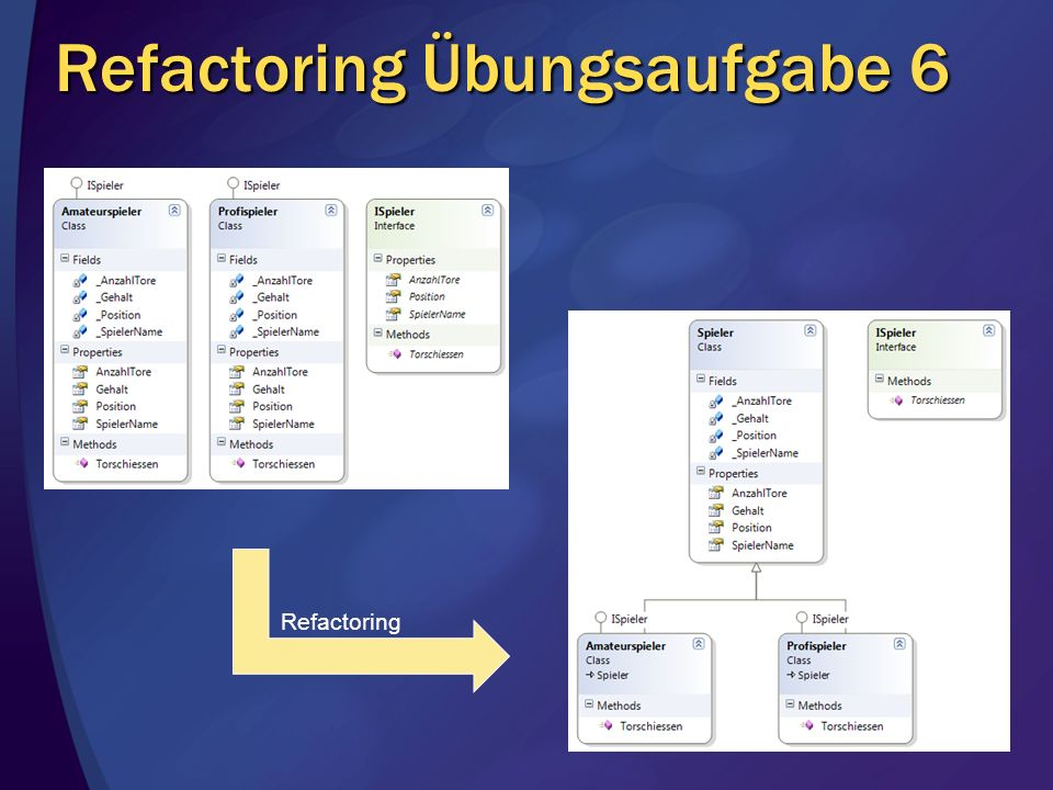 Refactoring Übungsaufgabe 6 Refactoring