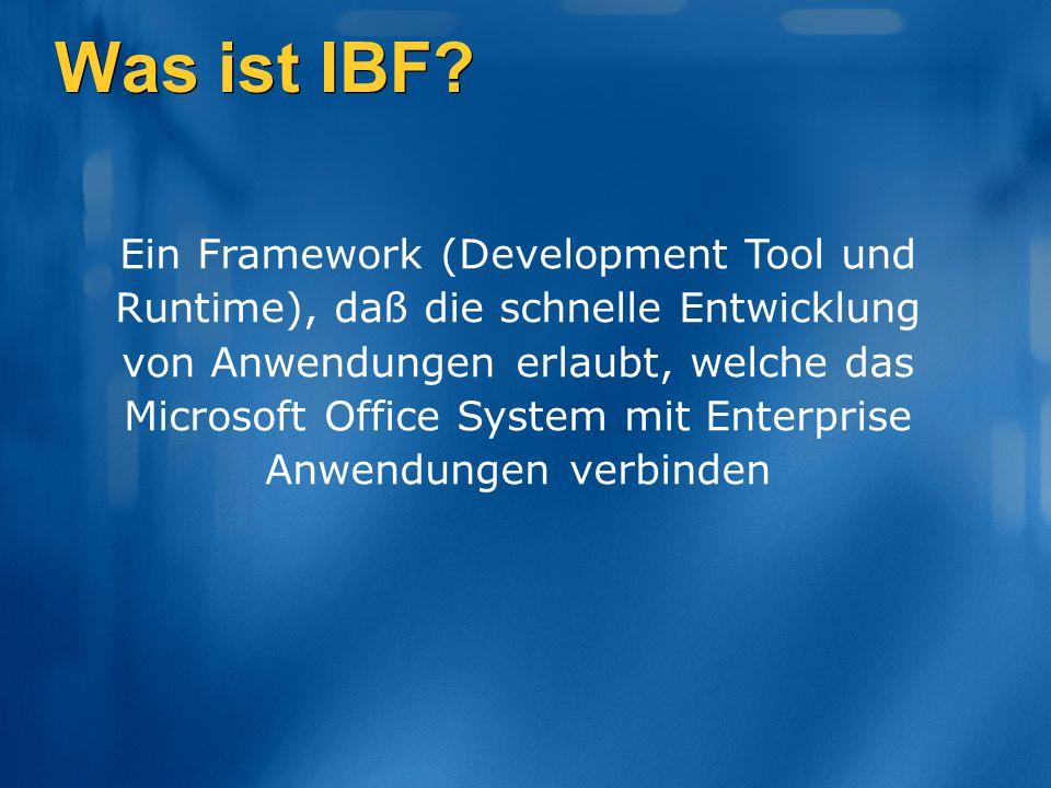Web Services Metadaten Office Add-in [für Excel, Outlook, Word] Information Bridge Framework IBF stellt dem Entwickler ein umfangreiches, aber dennoch einfaches Model zur Verfügung, vereinheitlichte Übersichten über Business Entities und deren Verhalten abzubilden, unabhängig vom Provider IBF bietet einen deklarativen Ansatz für das Erstellen von Lösungen basierend auf: