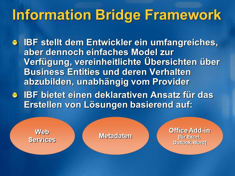Web Services Metadaten Office Add-in [für Excel, Outlook, Word] Information Bridge Framework IBF stellt dem Entwickler ein umfangreiches, aber dennoch