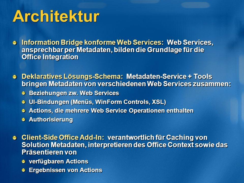 Architektur Information Bridge konforme Web Services: Web Services, ansprechbar per Metadaten, bilden die Grundlage für die Office Integration Deklaratives Lösungs-Schema: Metadaten-Service + Tools bringen Metadaten von verschiedenen Web Services zusammen: Beziehungen zw.