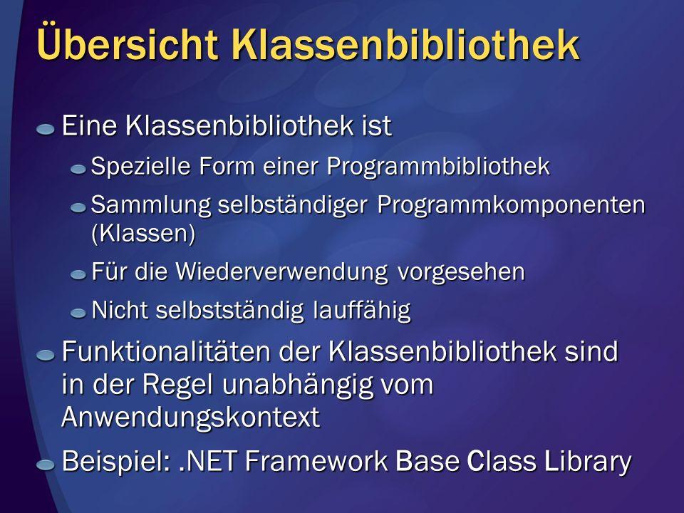 Übersicht Klassenbibliothek Eine Klassenbibliothek ist Spezielle Form einer Programmbibliothek Sammlung selbständiger Programmkomponenten (Klassen) Fü