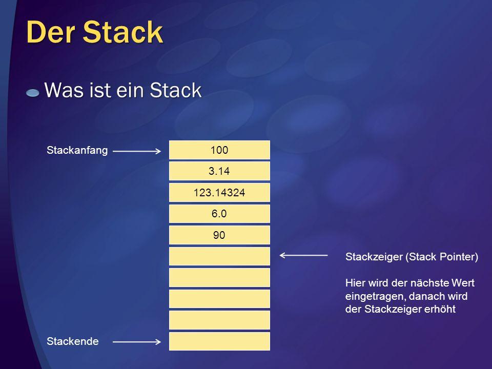 Der Stack Was ist ein Stack 100 3.14 123.14324 6.0 90 Stackanfang Stackende Stackzeiger (Stack Pointer) Hier wird der nächste Wert eingetragen, danach