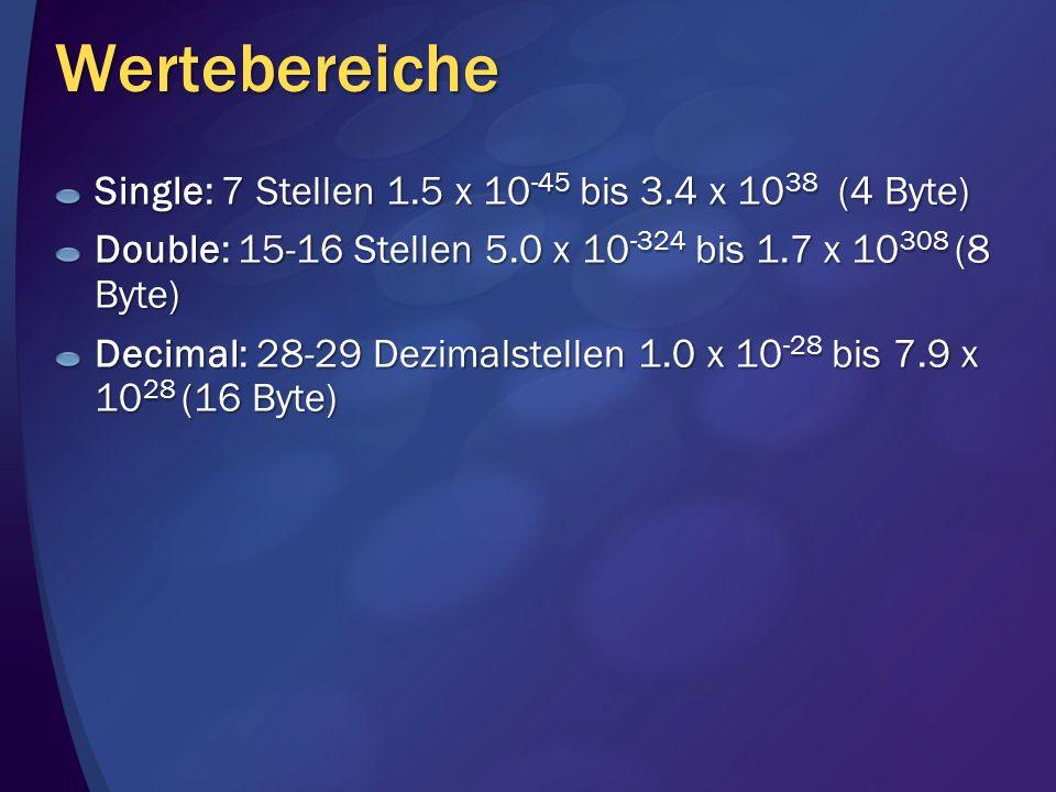 Wertebereiche Single: 7 Stellen 1.5 x 10 -45 bis 3.4 x 10 38 (4 Byte) Double: 15-16 Stellen 5.0 x 10 -324 bis 1.7 x 10 308 (8 Byte) Decimal: 28-29 Dez