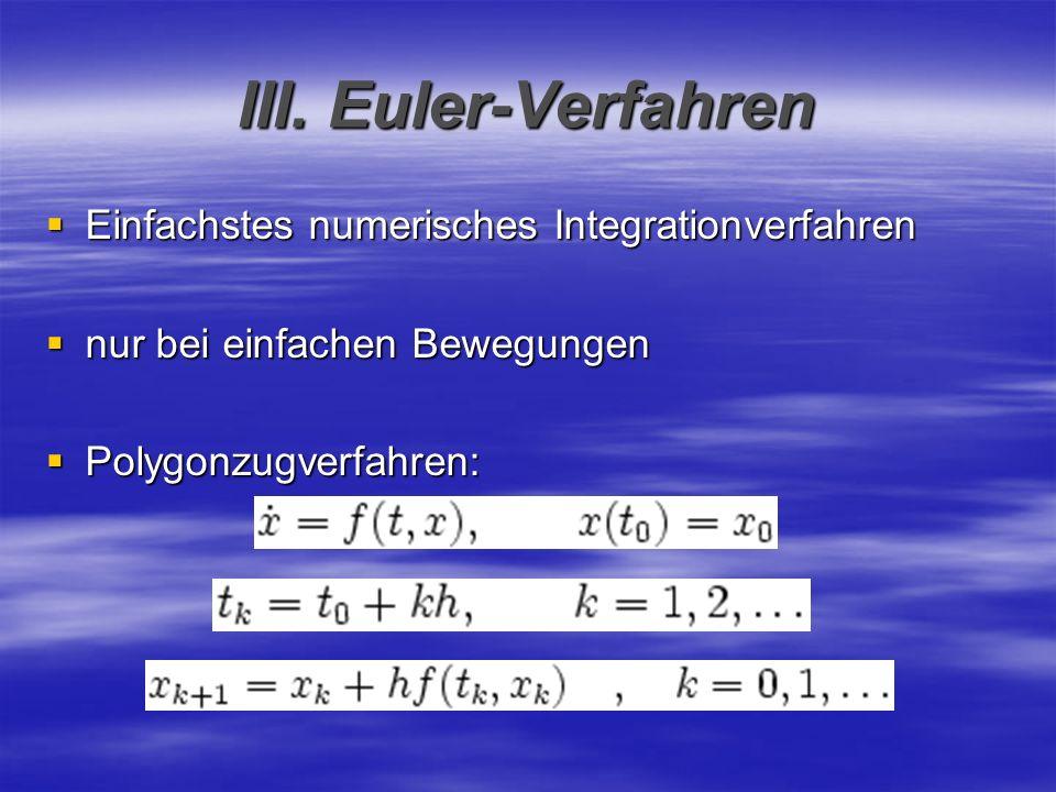 III. Euler-Verfahren Einfachstes numerisches Integrationverfahren Einfachstes numerisches Integrationverfahren nur bei einfachen Bewegungen nur bei ei