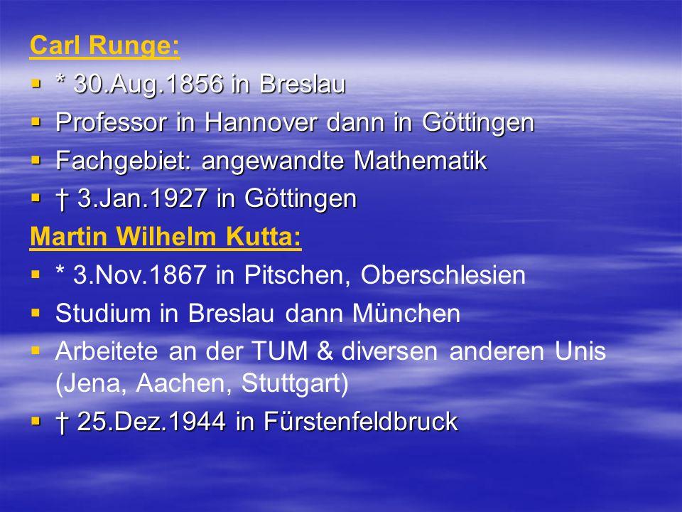 Carl Runge: * 30.Aug.1856 in Breslau * 30.Aug.1856 in Breslau Professor in Hannover dann in Göttingen Professor in Hannover dann in Göttingen Fachgebi