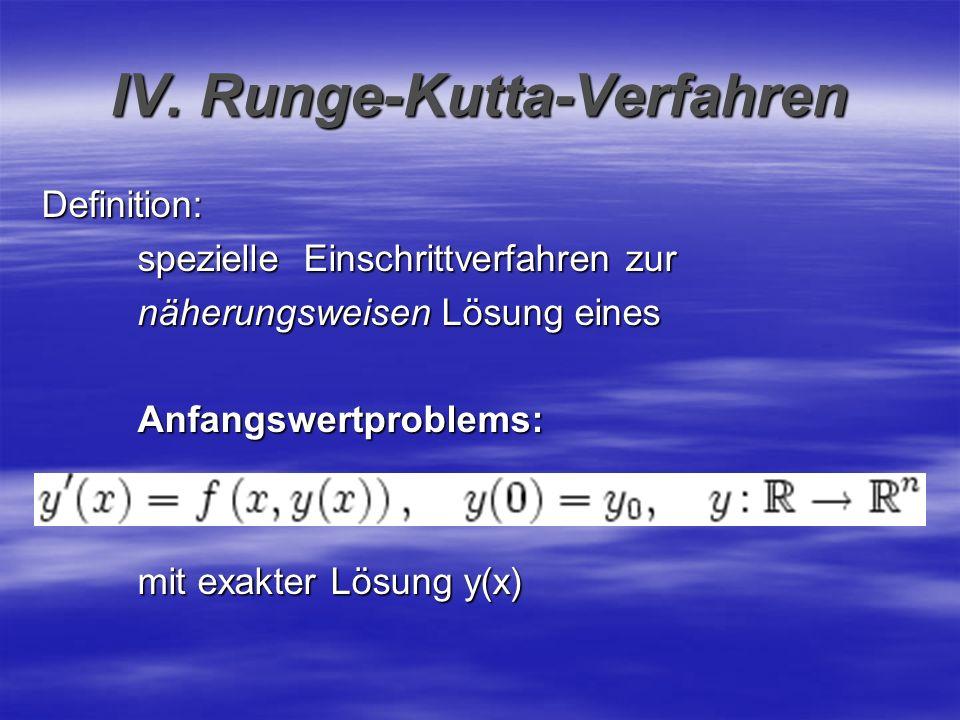 IV. Runge-Kutta-Verfahren Definition: spezielle Einschrittverfahren zur näherungsweisen Lösung eines Anfangswertproblems: mit exakter Lösung y(x)