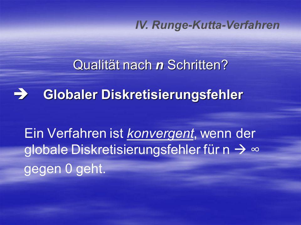 Qualität nach n Schritten? Globaler Diskretisierungsfehler Globaler Diskretisierungsfehler Ein Verfahren ist konvergent, wenn der globale Diskretisier