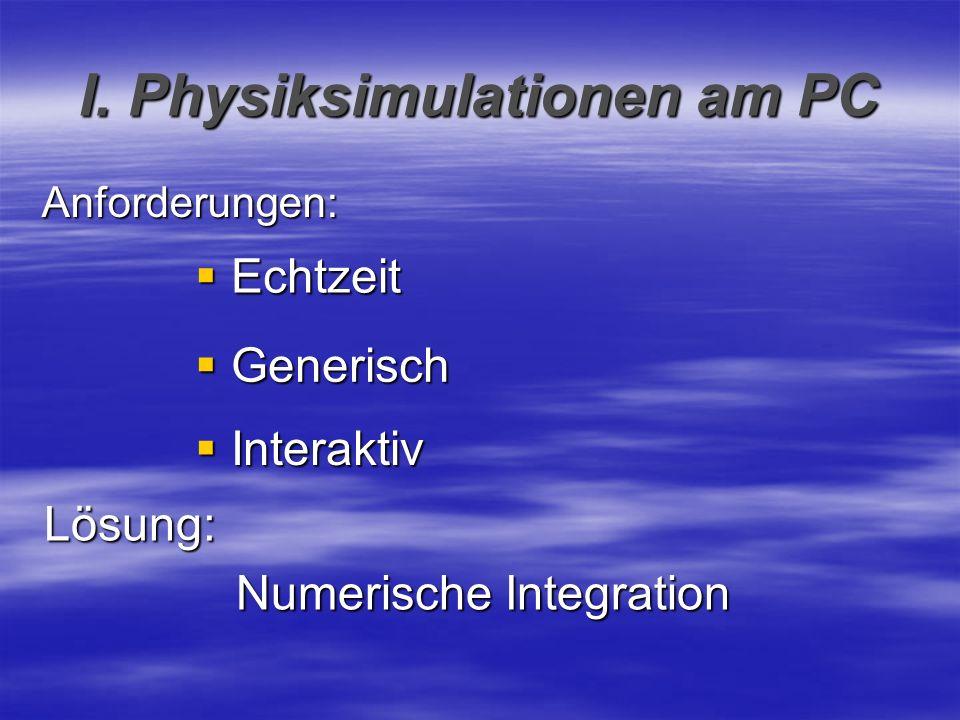 I. Physiksimulationen am PC Anforderungen: Echtzeit Echtzeit Generisch Generisch Interaktiv Interaktiv Lösung: Numerische Integration