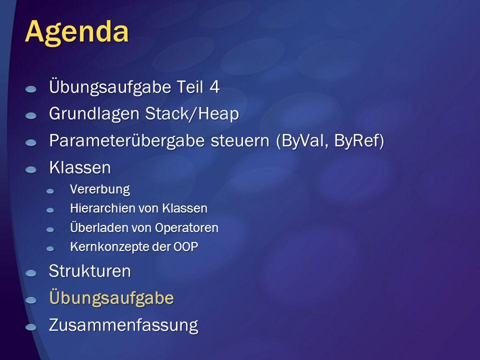 Agenda Übungsaufgabe Teil 4 Grundlagen Stack/Heap Parameterübergabe steuern (ByVal, ByRef) KlassenVererbung Hierarchien von Klassen Überladen von Operatoren Kernkonzepte der OOP StrukturenÜbungsaufgabeZusammenfassung