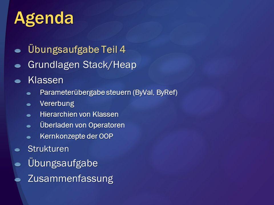 Agenda Übungsaufgabe Teil 4 Grundlagen Stack/Heap Klassen Parameterübergabe steuern (ByVal, ByRef) Vererbung Hierarchien von Klassen Überladen von Operatoren Kernkonzepte der OOP StrukturenÜbungsaufgabeZusammenfassung