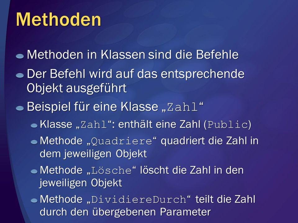 Methoden Methoden in Klassen sind die Befehle Der Befehl wird auf das entsprechende Objekt ausgeführt Beispiel für eine Klasse Zahl Beispiel für eine