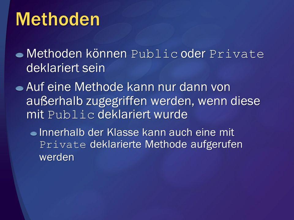 Methoden Methoden können Public oder Private deklariert sein Auf eine Methode kann nur dann von außerhalb zugegriffen werden, wenn diese mit Public de