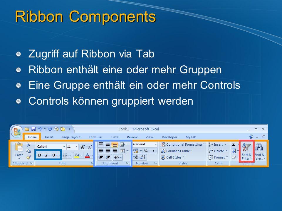 Ribbon Components Zugriff auf Ribbon via Tab Ribbon enthält eine oder mehr Gruppen Eine Gruppe enthält ein oder mehr Controls Controls können gruppier