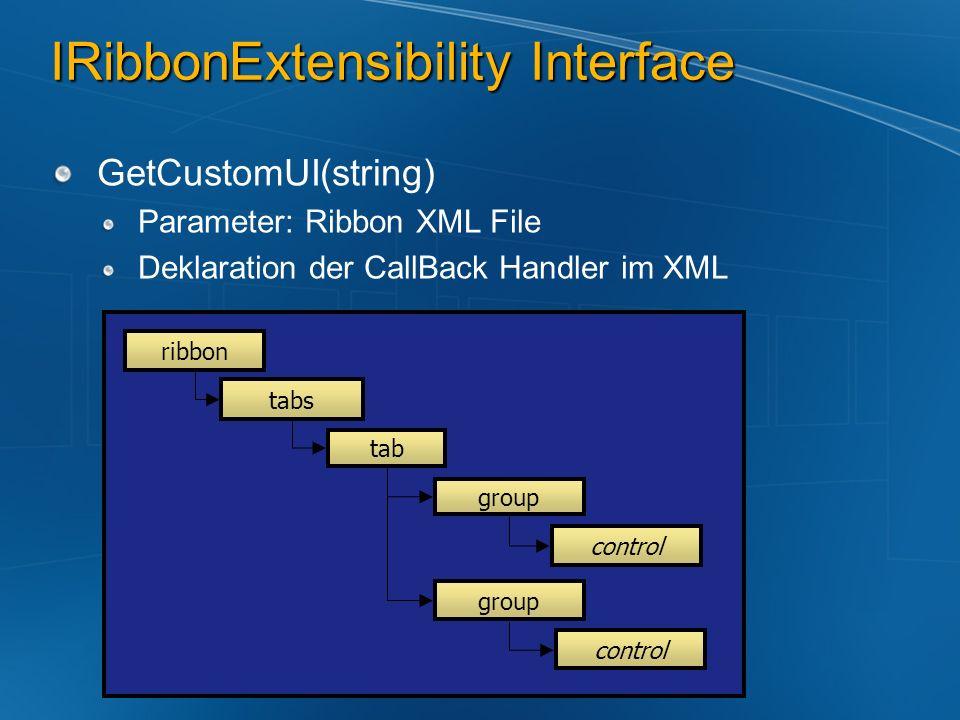 IRibbonExtensibility Interface GetCustomUI(string) Parameter: Ribbon XML File Deklaration der CallBack Handler im XML ribbon tabs tab group control gr