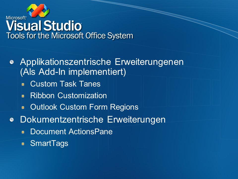 Applikationszentrische Erweiterungenen (Als Add-In implementiert) Custom Task Tanes Ribbon Customization Outlook Custom Form Regions Dokumentzentrisch