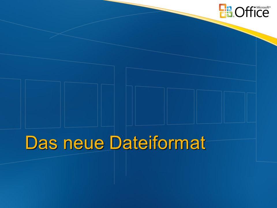 Microsoft Office Open XML Formats Für Word, Excel und PPT XML und ZIP docx, xlsx, pptx Offenen und transparent ECMA: 4000 Seiten neue Integrationsszenarien ZIP Container = Standardkompression Bedeutend geringere Dateigrößen Einfacher Zugriff auf Inhalte