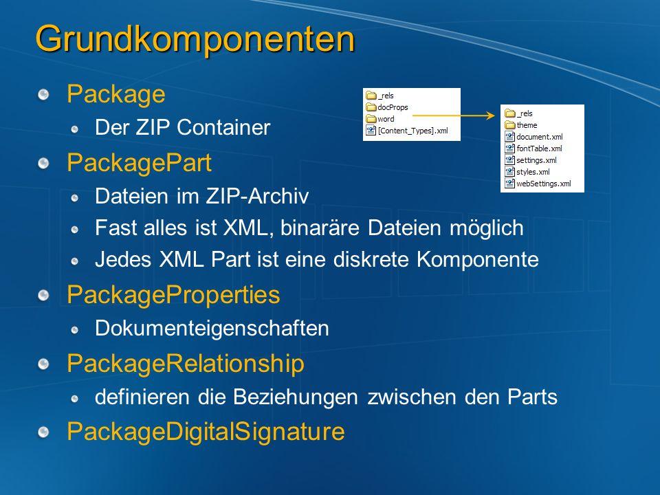 Grundkomponenten Package Der ZIP Container PackagePart Dateien im ZIP-Archiv Fast alles ist XML, binaräre Dateien möglich Jedes XML Part ist eine disk