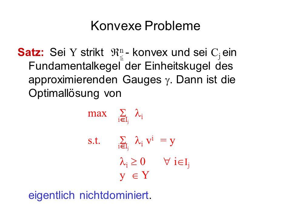 Konvexe Probleme Satz: Sei Y strikt n - konvex und sei C j ein Fundamentalkegel der Einheitskugel des approximierenden Gauges. Dann ist die Optimallös