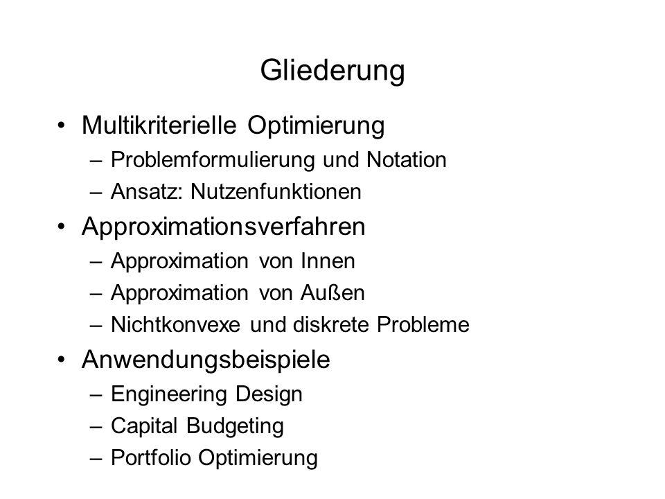 Gliederung Multikriterielle Optimierung –Problemformulierung und Notation –Ansatz: Nutzenfunktionen Approximationsverfahren –Approximation von Innen –