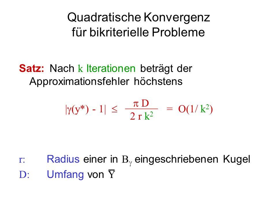 Quadratische Konvergenz für bikriterielle Probleme Satz: Nach k Iterationen beträgt der Approximationsfehler höchstens r: Radius einer in B eingeschri