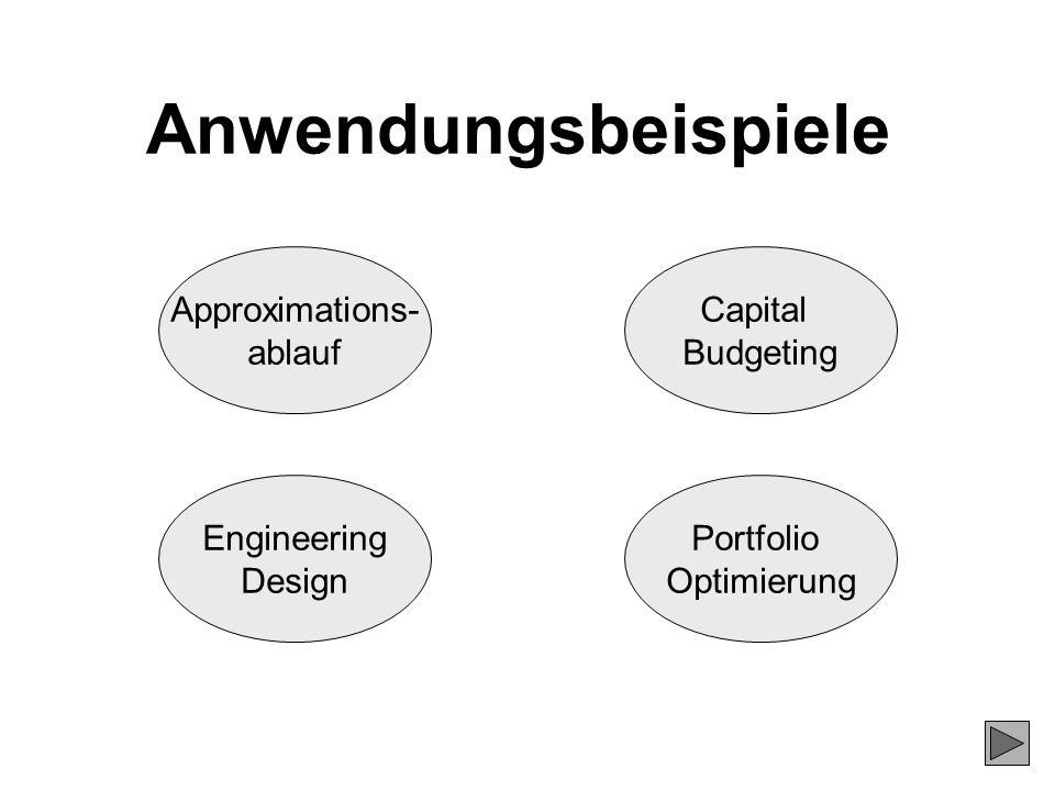 Anwendungsbeispiele Approximations- ablauf Engineering Design Capital Budgeting Portfolio Optimierung