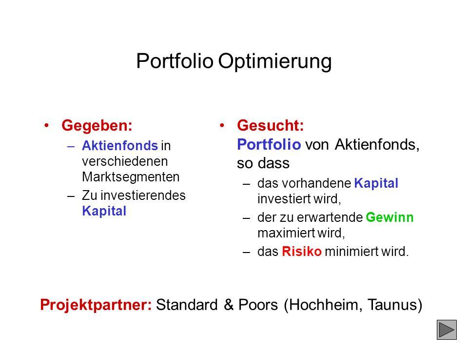 Portfolio Optimierung Gegeben: –Aktienfonds in verschiedenen Marktsegmenten –Zu investierendes Kapital Gesucht: Portfolio von Aktienfonds, so dass –da