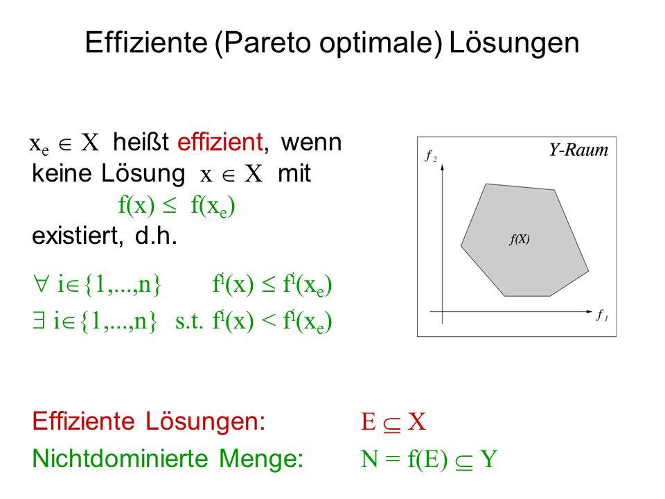 Effiziente (Pareto optimale) Lösungen x e X heißt effizient, wenn keine Lösung x X mit f(x) f(x e ) existiert, d.h. i {1,...,n} f i (x) f i (x e ) i {