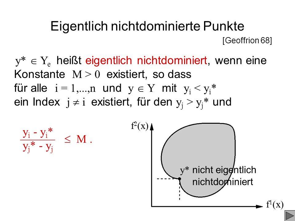 Eigentlich nichtdominierte Punkte f 1 (x) f 2 (x) y* Y e heißt eigentlich nichtdominiert, wenn eine Konstante M > 0 existiert, so dass für alle i = 1,
