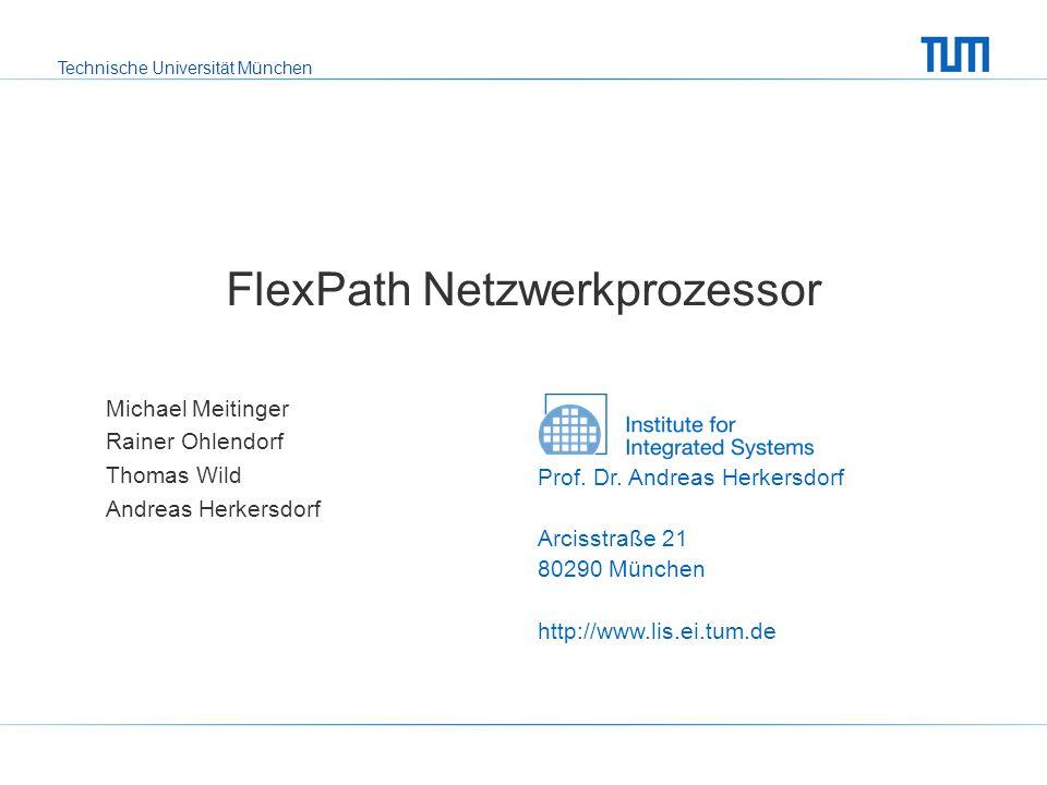 Technische Universität München Michael Meitinger SPP 1148 Zwischenkolloquium FlexPath NP - 12 Einsatzszenarien: Fall 4 Path Dispatcher Data Plane Data Plane CPU 1 hat höhere Priorität am Bus mehr Spraying-Verkehr keine Verluste bei Forwarding durch 2.