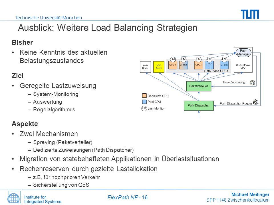 Technische Universität München Michael Meitinger SPP 1148 Zwischenkolloquium FlexPath NP - 16 Ausblick: Weitere Load Balancing Strategien Bisher Keine