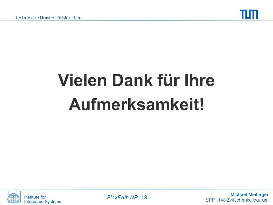 Technische Universität München Michael Meitinger SPP 1148 Zwischenkolloquium FlexPath NP - 18 Vielen Dank für Ihre Aufmerksamkeit!