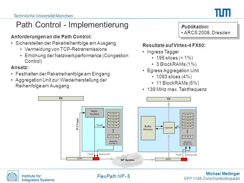 Technische Universität München Michael Meitinger SPP 1148 Zwischenkolloquium FlexPath NP - 6 Systemintegration Vollständiger, funktionsfähiger Netzwerkprozessor auf einem FPGA –ML410: Virtex-4 FX60 –2x Gigabit Ethernet –MPSoC mit zwei PowerPCs Data Plane Control Plane –Dynamische Pfadwahl Dedizierte Pfadwahl Spraying Zur Laufzeit konfigurierbar Software –Protocol Stack IPv4 forwarding IPSec –Statische Konfiguration