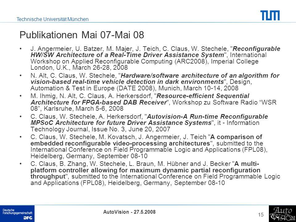 Technische Universität München AutoVision - 27.5.2008 15 Publikationen Mai 07-Mai 08 J. Angermeier, U. Batzer, M. Majer, J. Teich, C. Claus, W. Steche