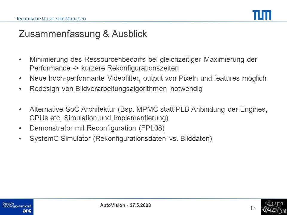 Technische Universität München AutoVision - 27.5.2008 17 Zusammenfassung & Ausblick Minimierung des Ressourcenbedarfs bei gleichzeitiger Maximierung der Performance -> kürzere Rekonfigurationszeiten Neue hoch-performante Videofilter, output von Pixeln und features möglich Redesign von Bildverarbeitungsalgorithmen notwendig Alternative SoC Architektur (Bsp.