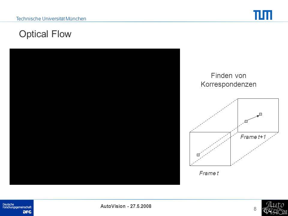 Technische Universität München AutoVision - 27.5.2008 8 Optical Flow Frame t Frame t+1 Finden von Korrespondenzen