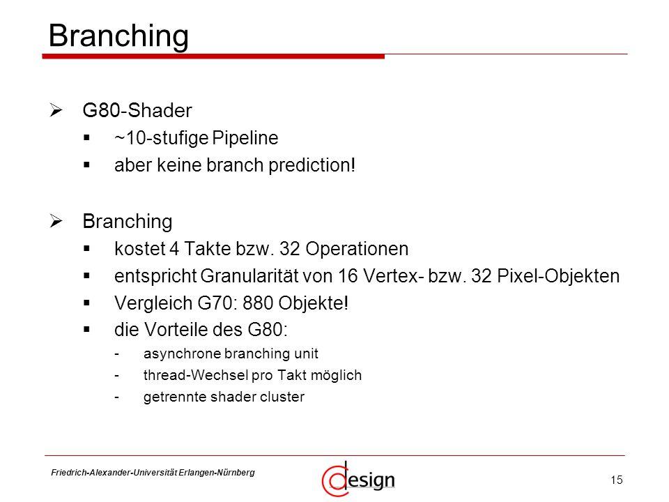 15 Friedrich-Alexander-Universität Erlangen-Nürnberg Frank Hannig Branching G80-Shader ~10-stufige Pipeline aber keine branch prediction! Branching ko