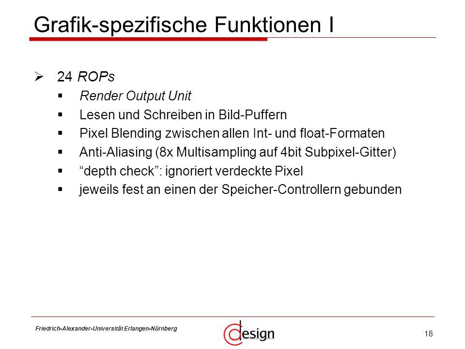 18 Friedrich-Alexander-Universität Erlangen-Nürnberg Frank Hannig Grafik-spezifische Funktionen I 24 ROPs Render Output Unit Lesen und Schreiben in Bi