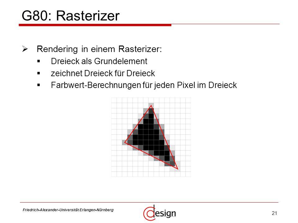 21 Friedrich-Alexander-Universität Erlangen-Nürnberg Frank Hannig G80: Rasterizer Rendering in einem Rasterizer: Dreieck als Grundelement zeichnet Dre