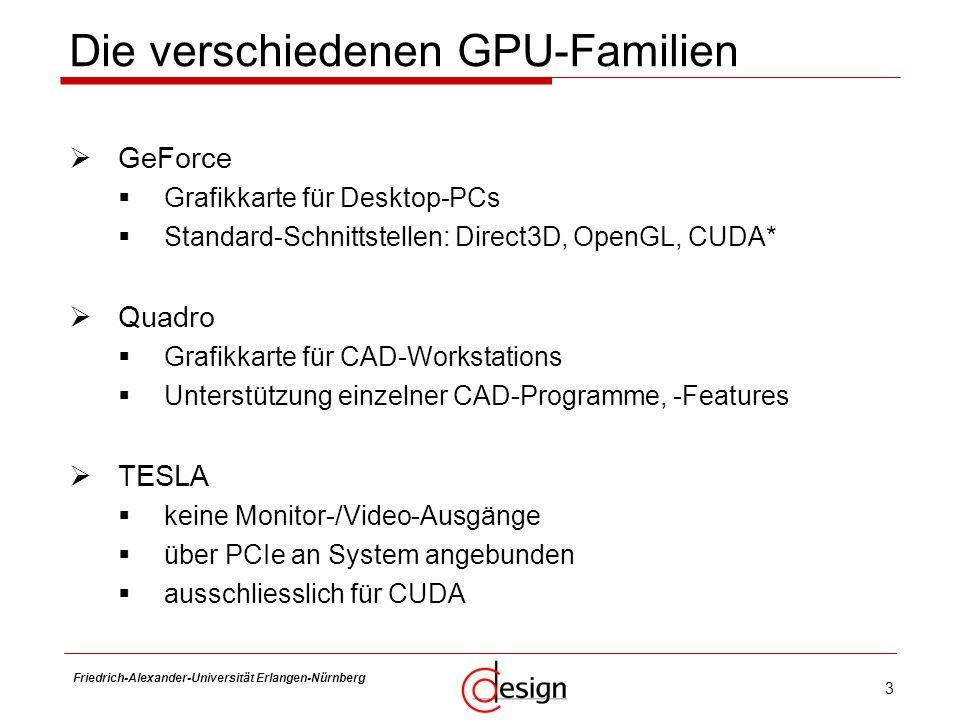 3 Friedrich-Alexander-Universität Erlangen-Nürnberg Frank Hannig Die verschiedenen GPU-Familien GeForce Grafikkarte für Desktop-PCs Standard-Schnittst