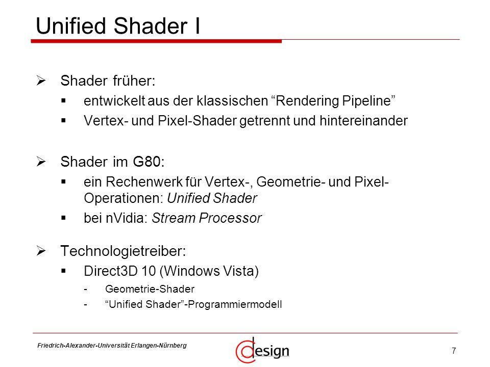 7 Friedrich-Alexander-Universität Erlangen-Nürnberg Frank Hannig Unified Shader I Shader früher: entwickelt aus der klassischen Rendering Pipeline Ver
